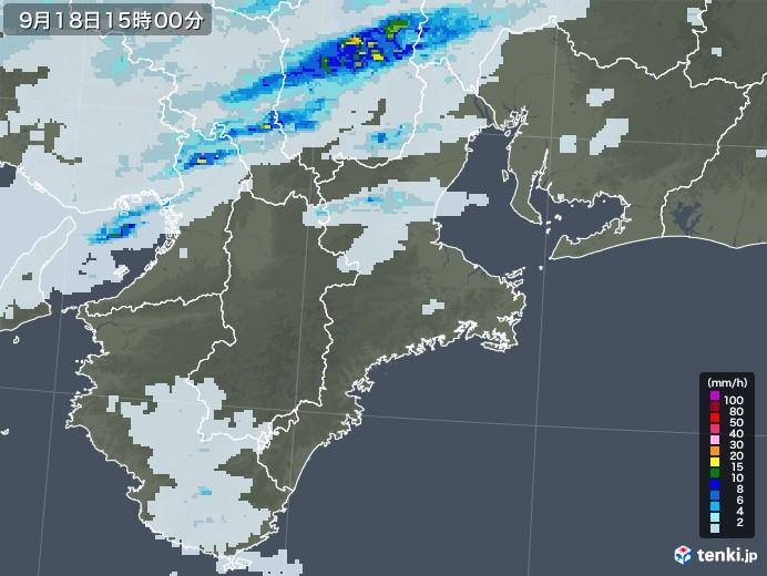 三重県の雨雲レーダー(2020年09月18日)