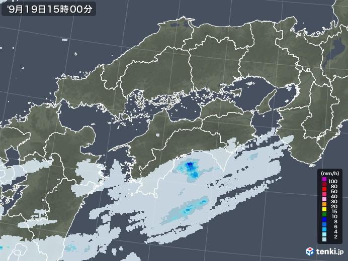四国地方の雨雲レーダー(2020年09月19日)
