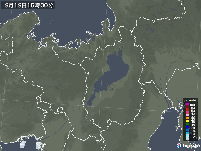 滋賀県の雨雲レーダー(2020年09月19日)