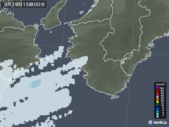 和歌山県の雨雲レーダー(2020年09月19日)