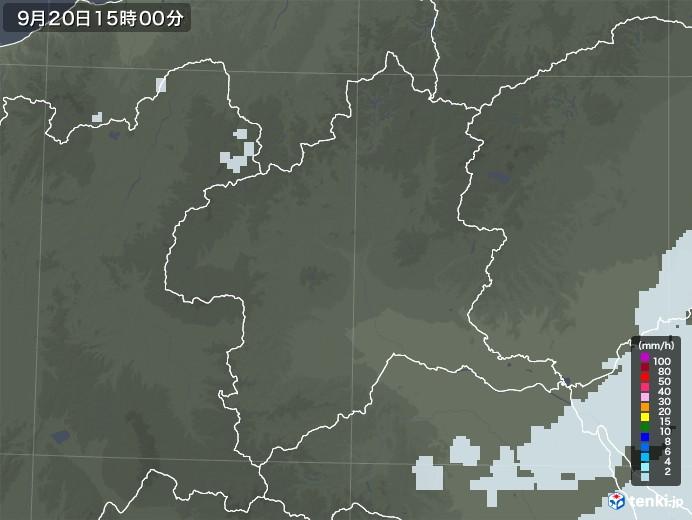 群馬県の雨雲レーダー(2020年09月20日)