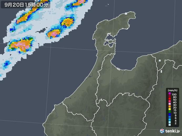 石川県の雨雲レーダー(2020年09月20日)
