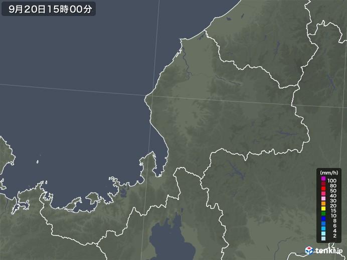 福井県の雨雲レーダー(2020年09月20日)