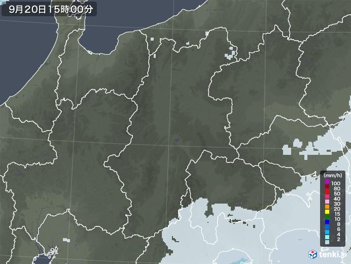長野県の雨雲レーダー(2020年09月20日)