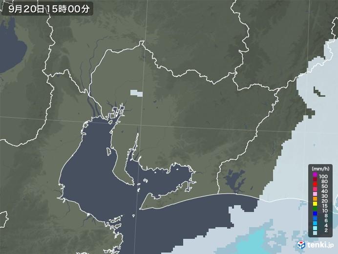 愛知県の雨雲レーダー(2020年09月20日)
