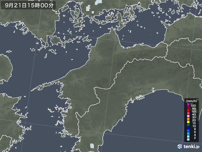 愛媛県の雨雲レーダー(2020年09月21日)