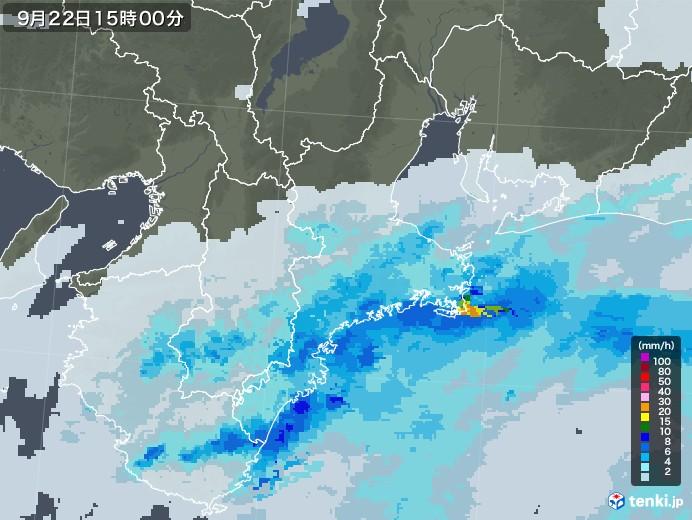 三重県の雨雲レーダー(2020年09月22日)