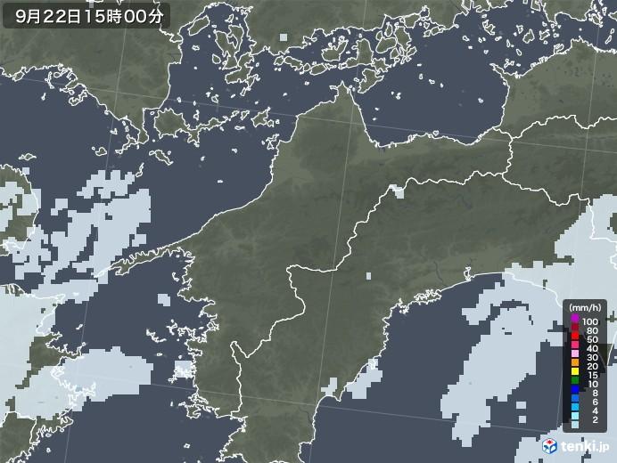 愛媛県の雨雲レーダー(2020年09月22日)
