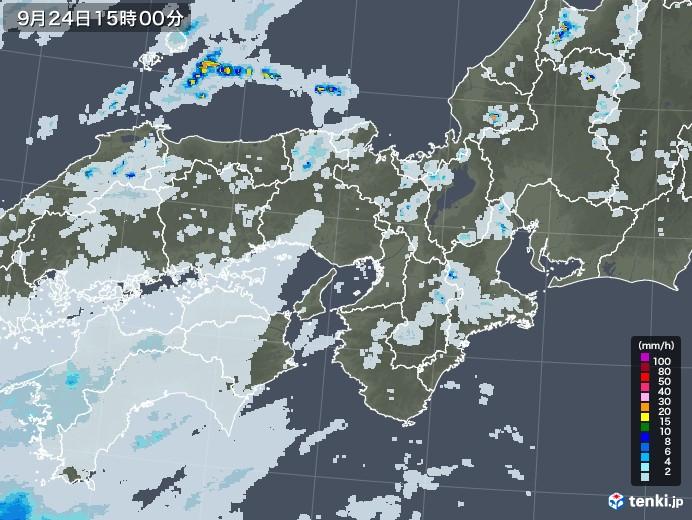 近畿地方の雨雲レーダー(2020年09月24日)