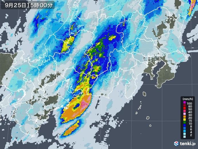 東海地方の雨雲レーダー(2020年09月25日)