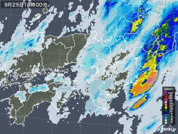 近畿地方の雨雲レーダー(2020年09月25日)