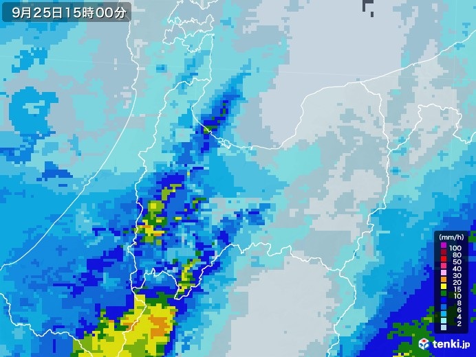 富山県の雨雲レーダー(2020年09月25日)