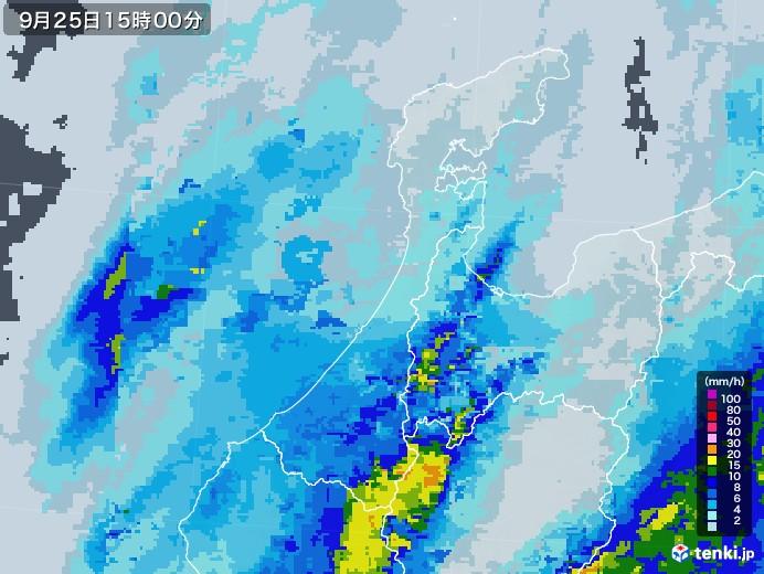 石川県の雨雲レーダー(2020年09月25日)