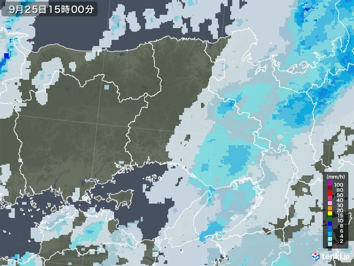 兵庫県の雨雲レーダー(2020年09月25日)