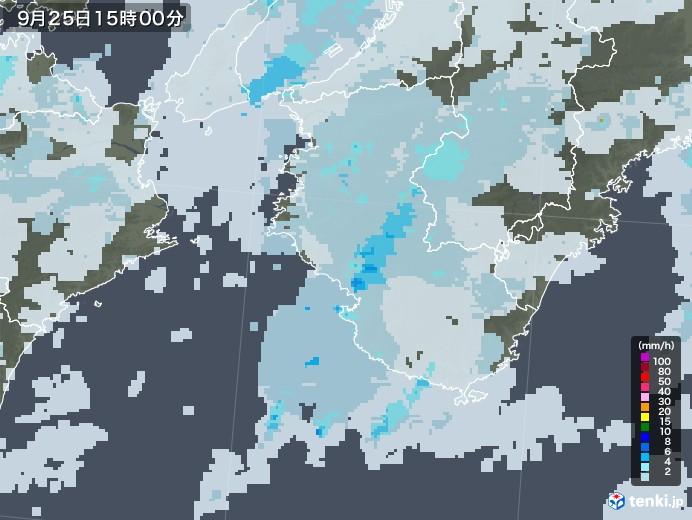 和歌山県の雨雲レーダー(2020年09月25日)