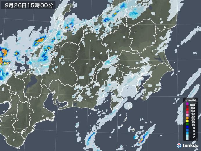 関東・甲信地方の雨雲レーダー(2020年09月26日)