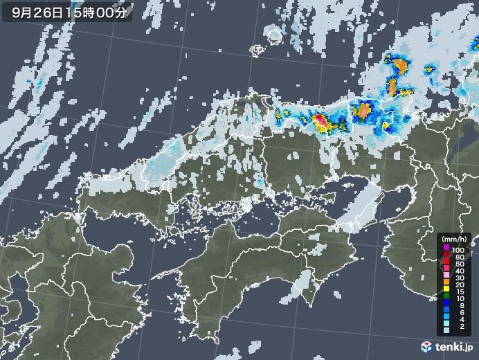 中国地方の雨雲レーダー(2020年09月26日)