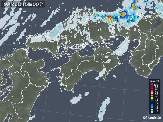 四国地方の雨雲レーダー(2020年09月26日)