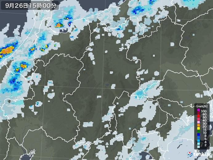 長野県の雨雲レーダー(2020年09月26日)