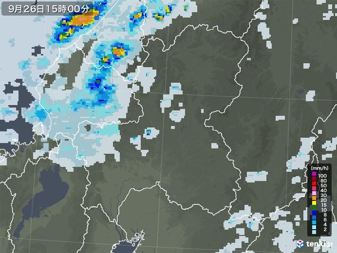 岐阜県の雨雲レーダー(2020年09月26日)
