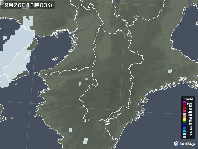 奈良県の雨雲レーダー(2020年09月26日)