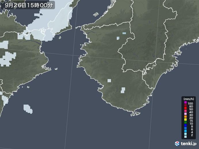 和歌山県の雨雲レーダー(2020年09月26日)