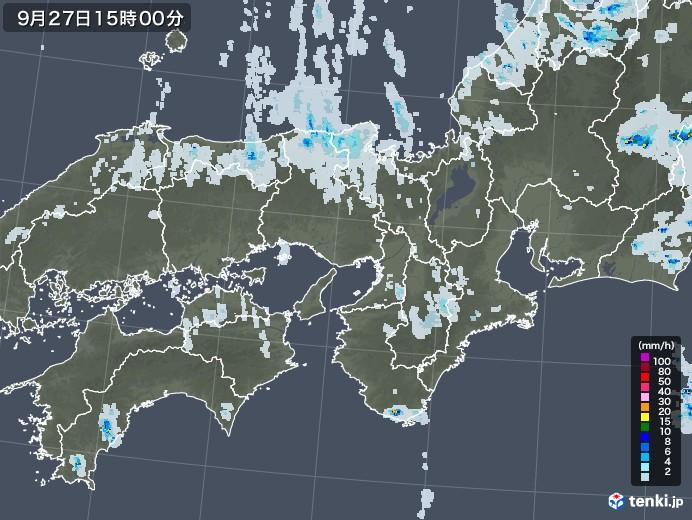 近畿地方の雨雲レーダー(2020年09月27日)