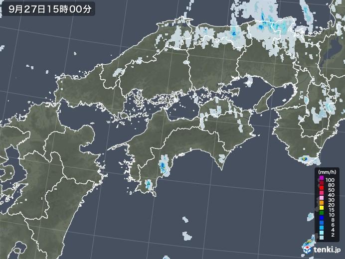 四国地方の雨雲レーダー(2020年09月27日)