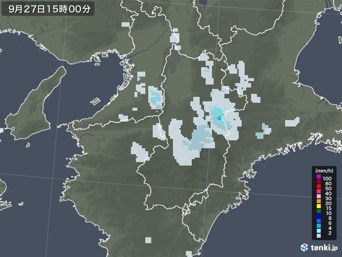 奈良県の雨雲レーダー(2020年09月27日)