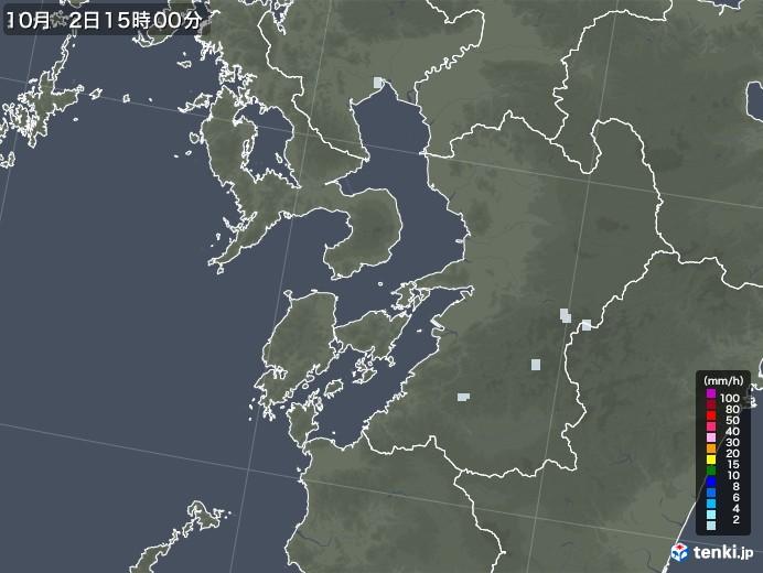 熊本県の雨雲レーダー(2020年10月02日)