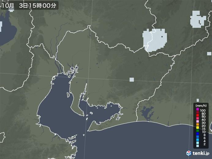 愛知県の雨雲レーダー(2020年10月03日)