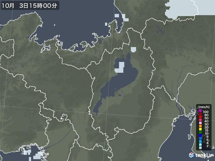 滋賀県の雨雲レーダー(2020年10月03日)
