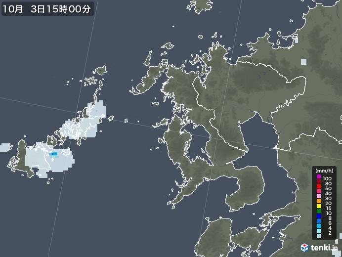 長崎県の雨雲レーダー(2020年10月03日)