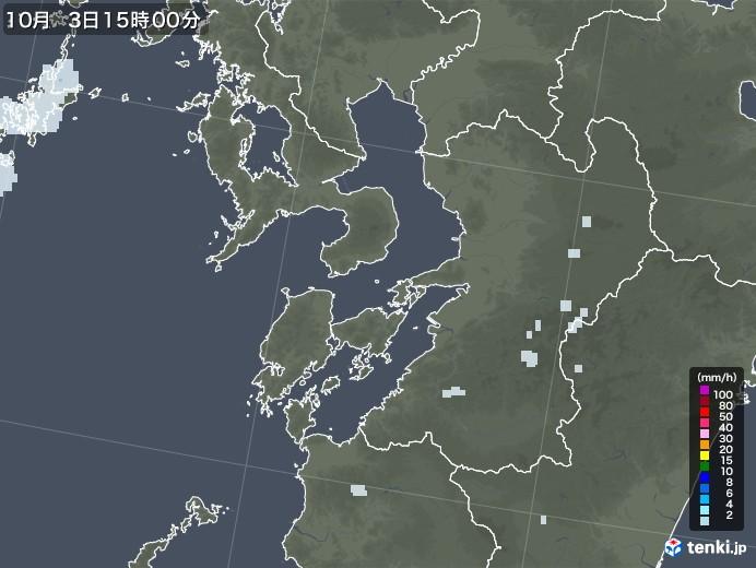 熊本県の雨雲レーダー(2020年10月03日)