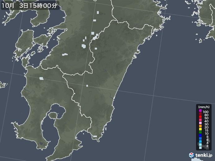 宮崎県の雨雲レーダー(2020年10月03日)