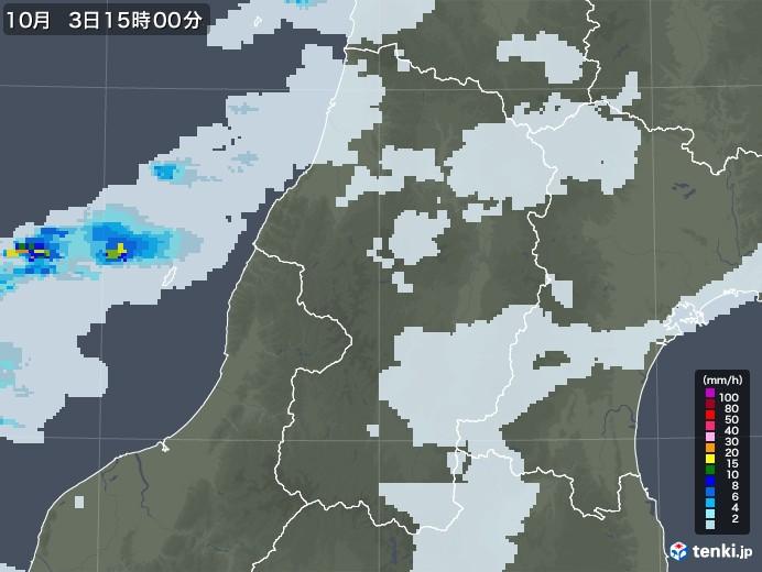 山形県の雨雲レーダー(2020年10月03日)