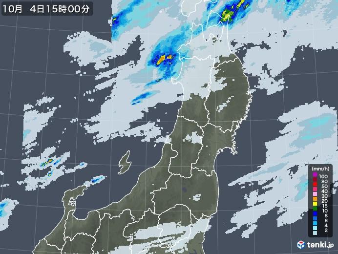 東北地方の雨雲レーダー(2020年10月04日)