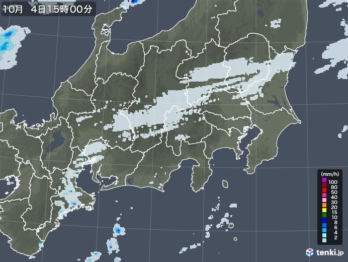 関東・甲信地方の雨雲レーダー(2020年10月04日)