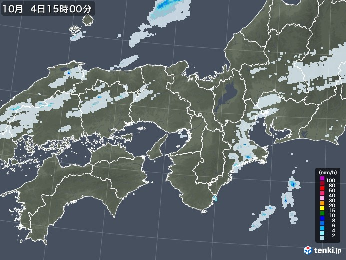 近畿地方の雨雲レーダー(2020年10月04日)