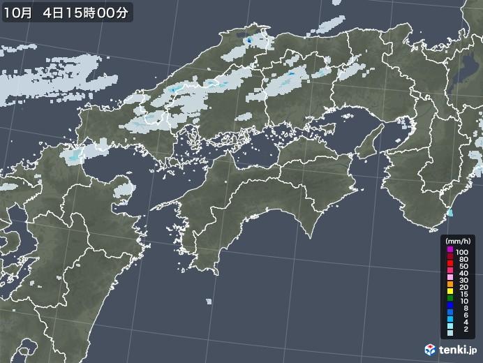 四国地方の雨雲レーダー(2020年10月04日)