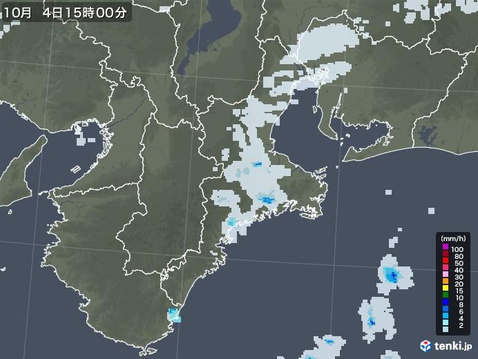 三重県の雨雲レーダー(2020年10月04日)
