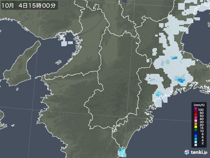 奈良県の雨雲レーダー(2020年10月04日)