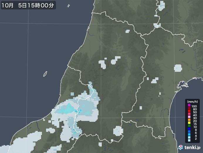 山形県の雨雲レーダー(2020年10月05日)