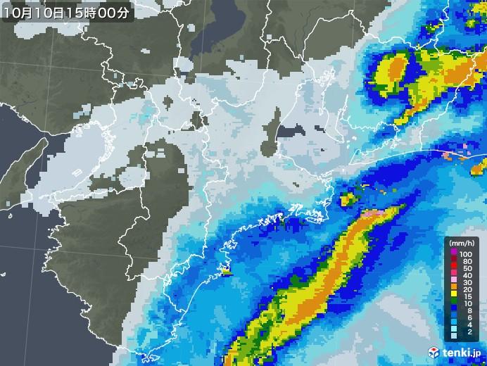 三重県の雨雲レーダー(2020年10月10日)