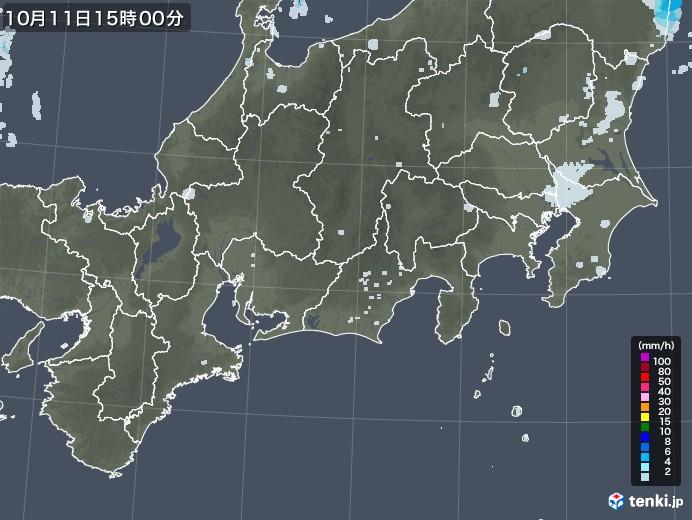 東海地方の雨雲レーダー(2020年10月11日)