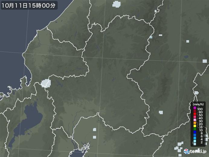 岐阜県の雨雲レーダー(2020年10月11日)