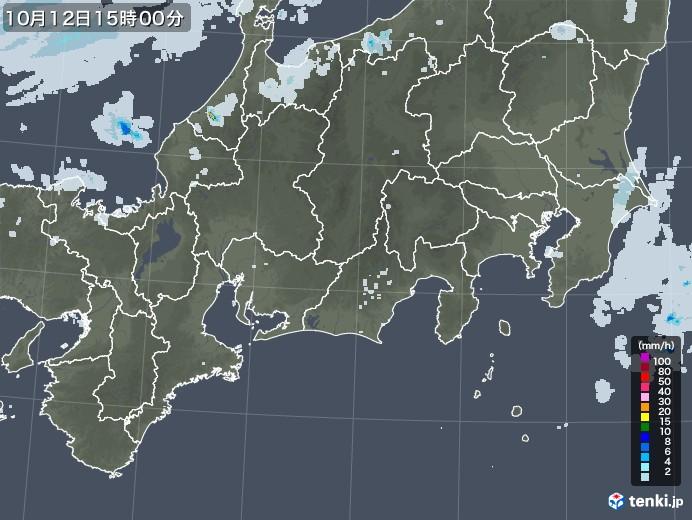 東海地方の雨雲レーダー(2020年10月12日)