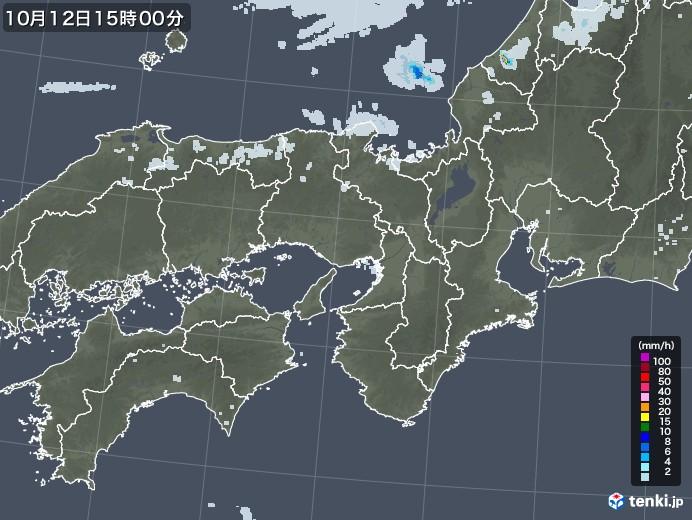 近畿地方の雨雲レーダー(2020年10月12日)