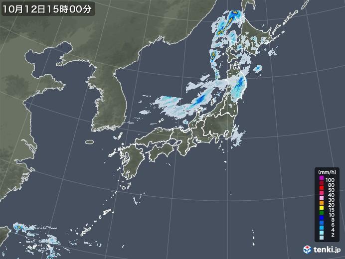 雨雲レーダー(2020年10月12日)