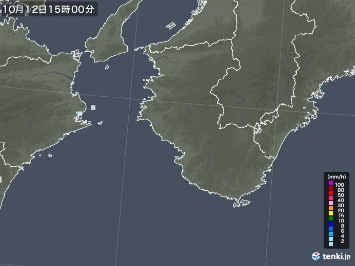 和歌山県の雨雲レーダー(2020年10月12日)